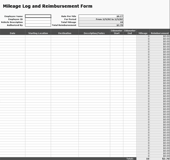 Excel-2003 Tracks Mileage Log Data With Reimbursement Form