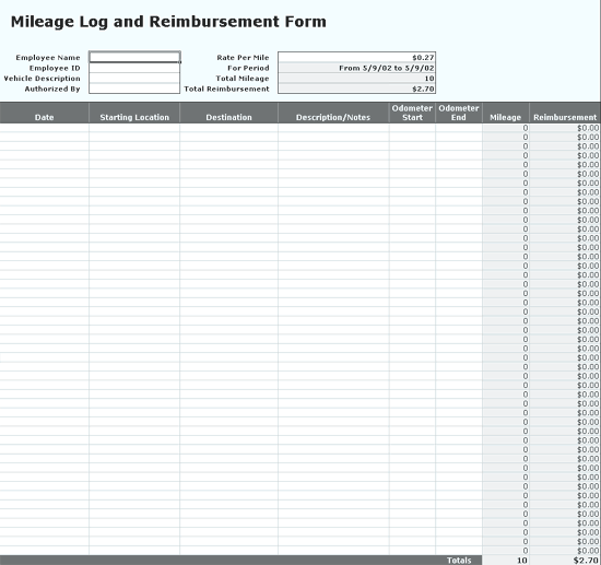 Excel-2010 Tracks Mileage Log Data With Reimbursement Form