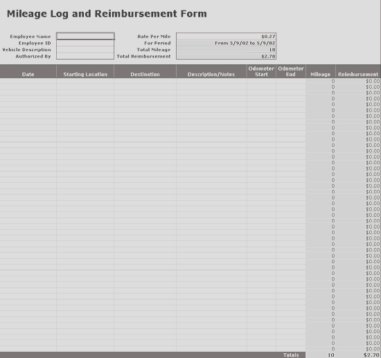 Excel-2016 Tracks Mileage Log Data With Reimbursement Form