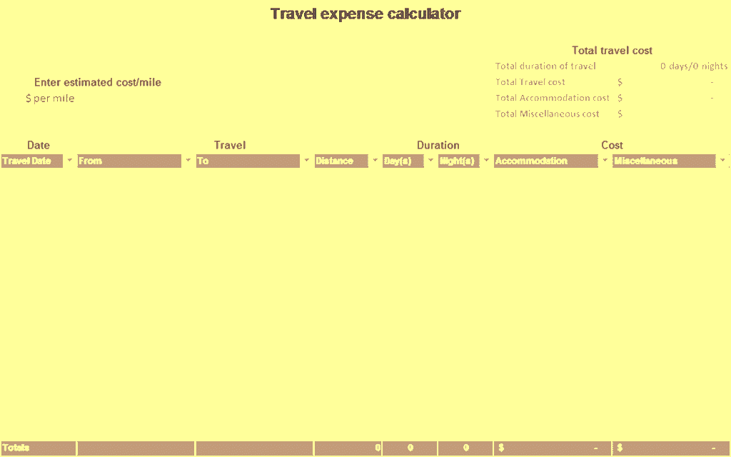 Download Excel-2016 Travel Expense Calculator