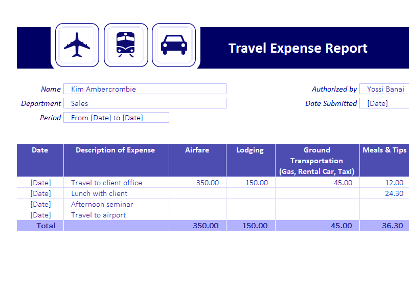 Download Excel-2013 Travel Expense Report