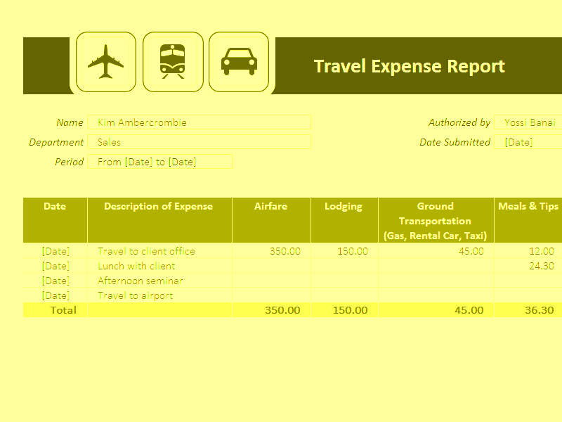 Download Excel-2016 Travel Expense Report