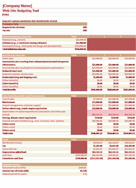 Download Excel-2007 Website Budget