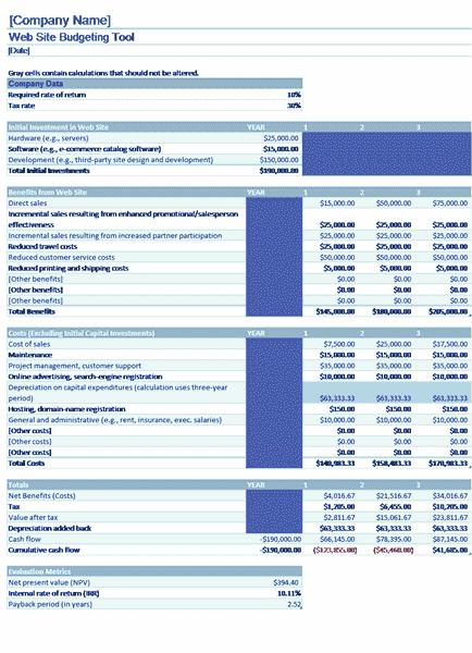 Download Excel-2013 Website Budget