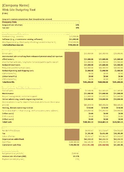 Download Excel-2016 Website Budget