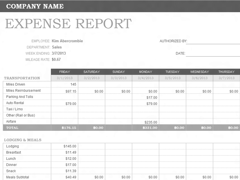 Download Excel-2003 Weekly Expense Report