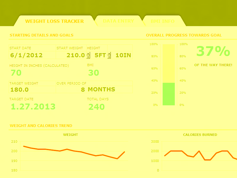 Excel 2016 Weight Loss Tracker With Bmi Dashboard
